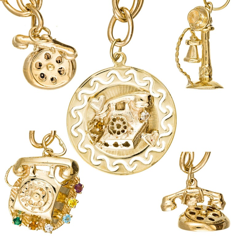 Women's Yellow Gold Telephone Charm Link Bracelet For Sale