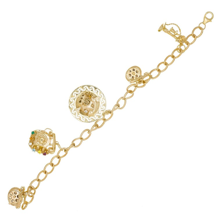 Yellow Gold Telephone Charm Link Bracelet For Sale 1