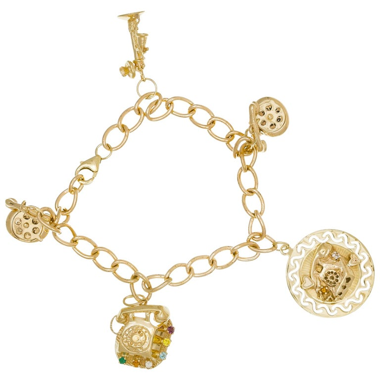 Yellow Gold Telephone Charm Link Bracelet For Sale