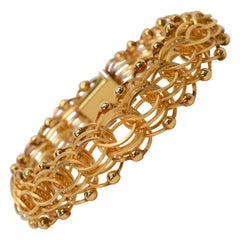 Interlocking Chain Link 14 Karat Yellow Gold Bracelet