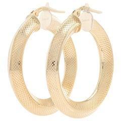 Yellow Gold Textured Knife-Edge Hoop Earrings, 18 Karat Snap Closures Pierced