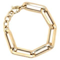 Yellow Gold Textured Oversize Link Bracelet