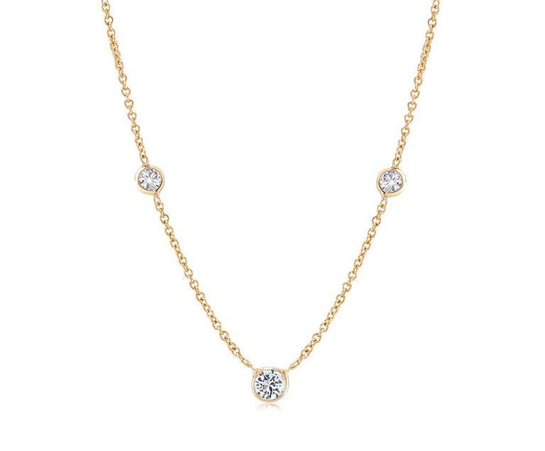 Round Cut Yellow Gold Three-Diamond Bezel Set Pendant Necklace
