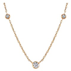 Yellow Gold Three-Diamond Bezel Set Pendant Necklace