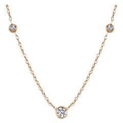 Yellow Gold Pendant Necklace with Three Bezel Set Diamond