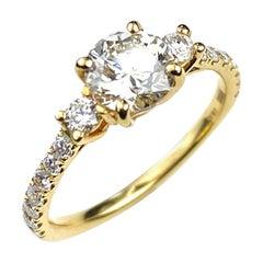 Yellow Gold Three-Diamond Engagement Ring