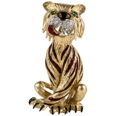 Yellow Gold Tiger Pin with Enamel and Diamonds