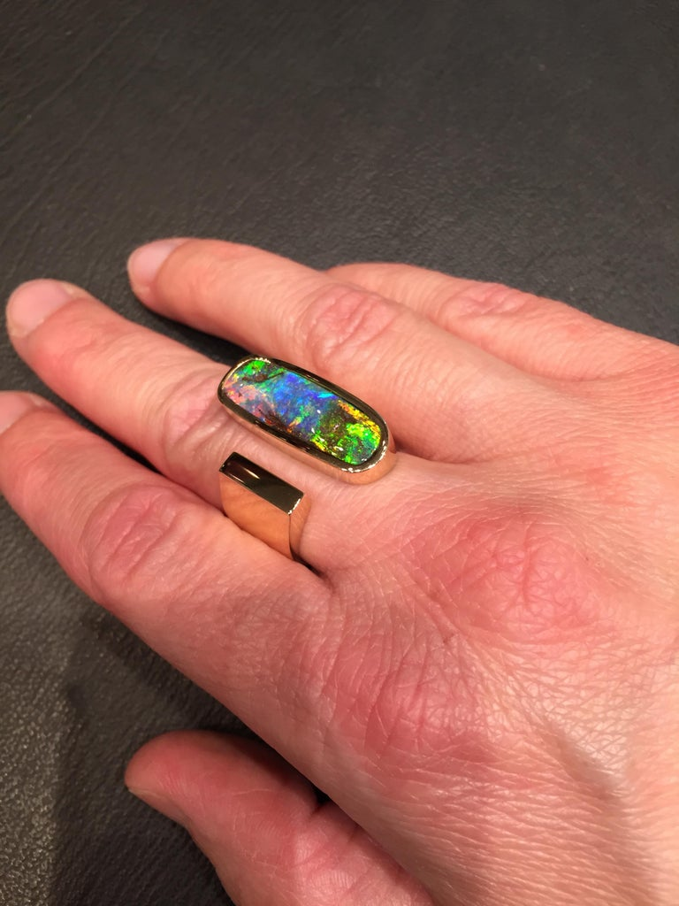 Contemporary Yellow Gold Top Quality Australian Boulder Opal Cocktail Ring For Sale