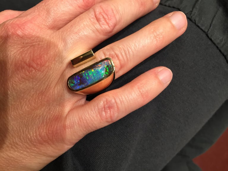 Yellow Gold Top Quality Australian Boulder Opal Cocktail Ring In New Condition For Sale In Barcelona, ES