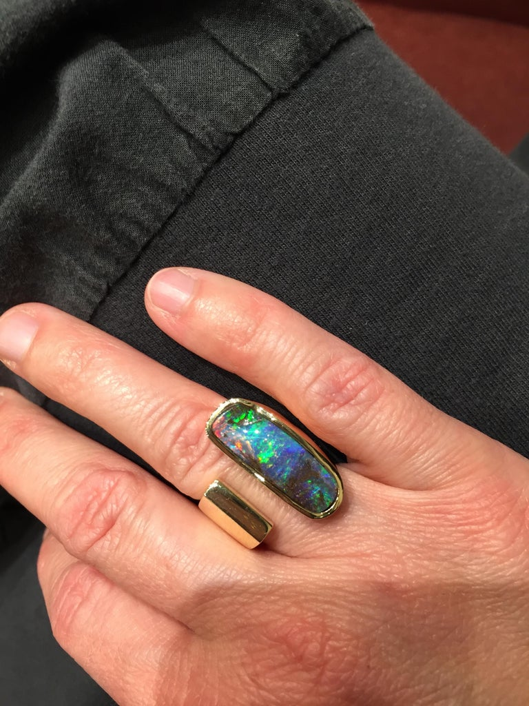 Women's or Men's Yellow Gold Top Quality Australian Boulder Opal Cocktail Ring For Sale