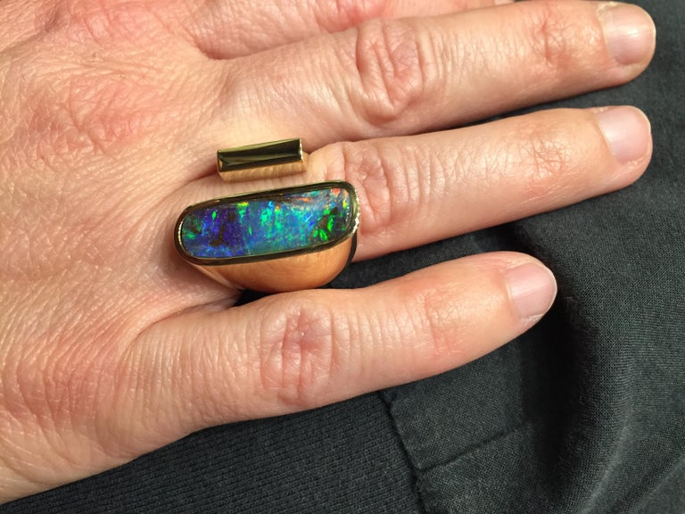 Yellow Gold Top Quality Australian Boulder Opal Cocktail Ring For Sale 1