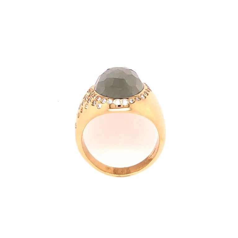 Oval Cut Yellow Gold Topaz and Diamond Ring For Sale