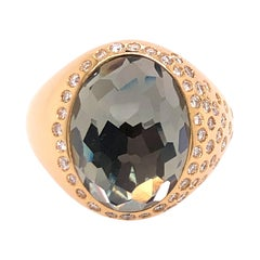 Yellow Gold Topaz and Diamond Ring