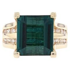 Yellow Gold Tourmaline and Diamond Ring, 14 Karat Rectangular Step 5.87 Carat