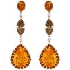 Yellow Gold, Tourmaline, Citrine and Diamond Ear Pendant Earrings