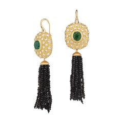AnaKatarina Yellow Gold, Trapiche Emerald, Diamond, Black Spinel Tassel Earrings