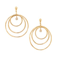 Yellow Gold Triple Hoop Diamond Earrings