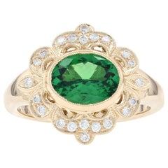Yellow Gold Tsavorite Garnet & Diamond Flower Halo Ring, 14k Oval Cut 1.96 Carat