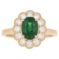 Yellow Gold Tsavorite Garnet & Diamond Ring, 18k Oval Cut 2.09 Carat Floral Halo