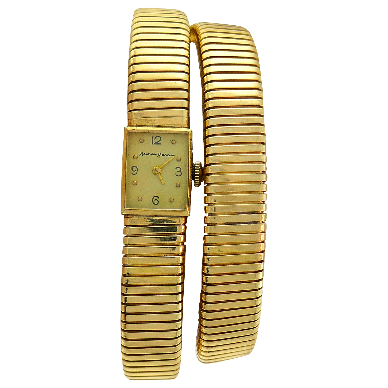 Yellow Gold Tubogas Retro Watch Wrap Bracelet by Neiman Marcus, 1950s