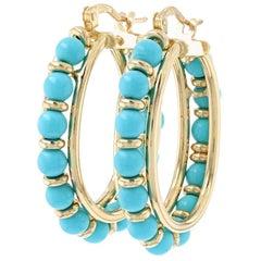 Yellow Gold Turquoise Bead Hoop Earrings, 18 Karat Oval Pierced Snap Closures