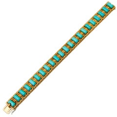 Yellow Gold Turquoise Bracelet