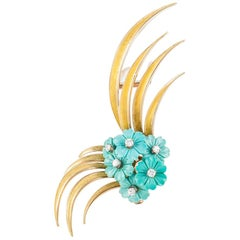 Yellow Gold Turquoise Diamond French Brooch