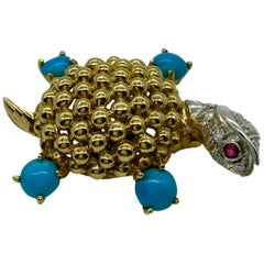 Yellow Gold, Turquoise, Diamond, Ruby Turtle Brooch