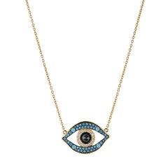 Yellow Gold Turquoise Evil Eye Pendant