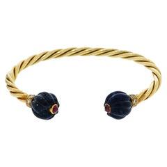 Yellow Gold Twisted Open Cuff Bracelet