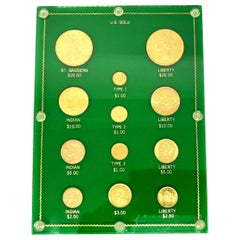 Yellow Gold Valuable Coins Collection with Display
