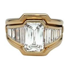 Yellow Gold Van Cleef & Arpels Ring, G-VS2 Emerald Cut Diamond 2.90 Carat