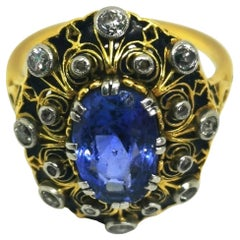 Yellow Gold Vintage Blue Sapphire and Diamond Cluster Cocktail Ring