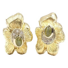 Yellow Gold Vintage Cufflinks with Diamonds and Cat's Eye Gemstones