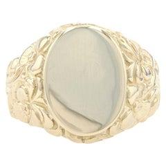 Yellow Gold Vintage Engravable Oval Signet Men's Ring, 14k Botanical Etch Scroll