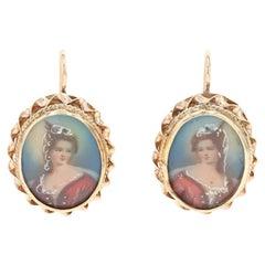 Yellow Gold Vintage Hand Painted Limoges Woman's Portrait Drop Earrings 14 Karat