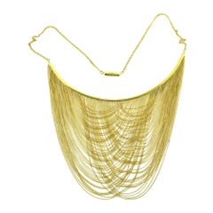 Yellow Gold Waterfall Drop Necklace
