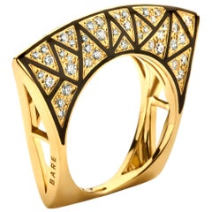 Yellow Gold, White Diamond and Enamel Lotus Ring
