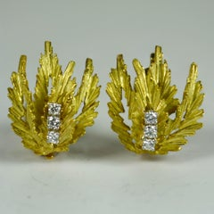 Yellow Gold White Diamond Leaf Clip Earrings