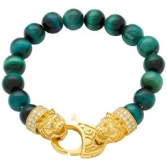 Yellow Gold White Diamond Malachite Bracelet, Tiger Bracelet