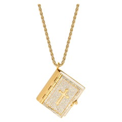 Yellow Gold White Diamond Pendant Necklace, Bible Pendant