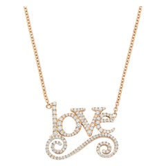 Yellow Gold White Diamond Pendant Necklace, Love Pendant