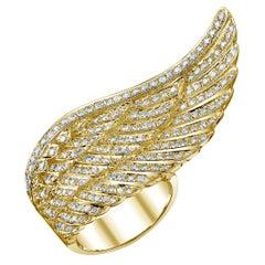 Yellow Gold White Diamond Ring, Angel Wing