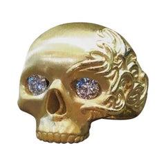Yellow Gold White Diamond Skull Ring
