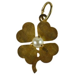 Yellow Gold White Pearl Lucky Clover Shamrock Charm Pendant