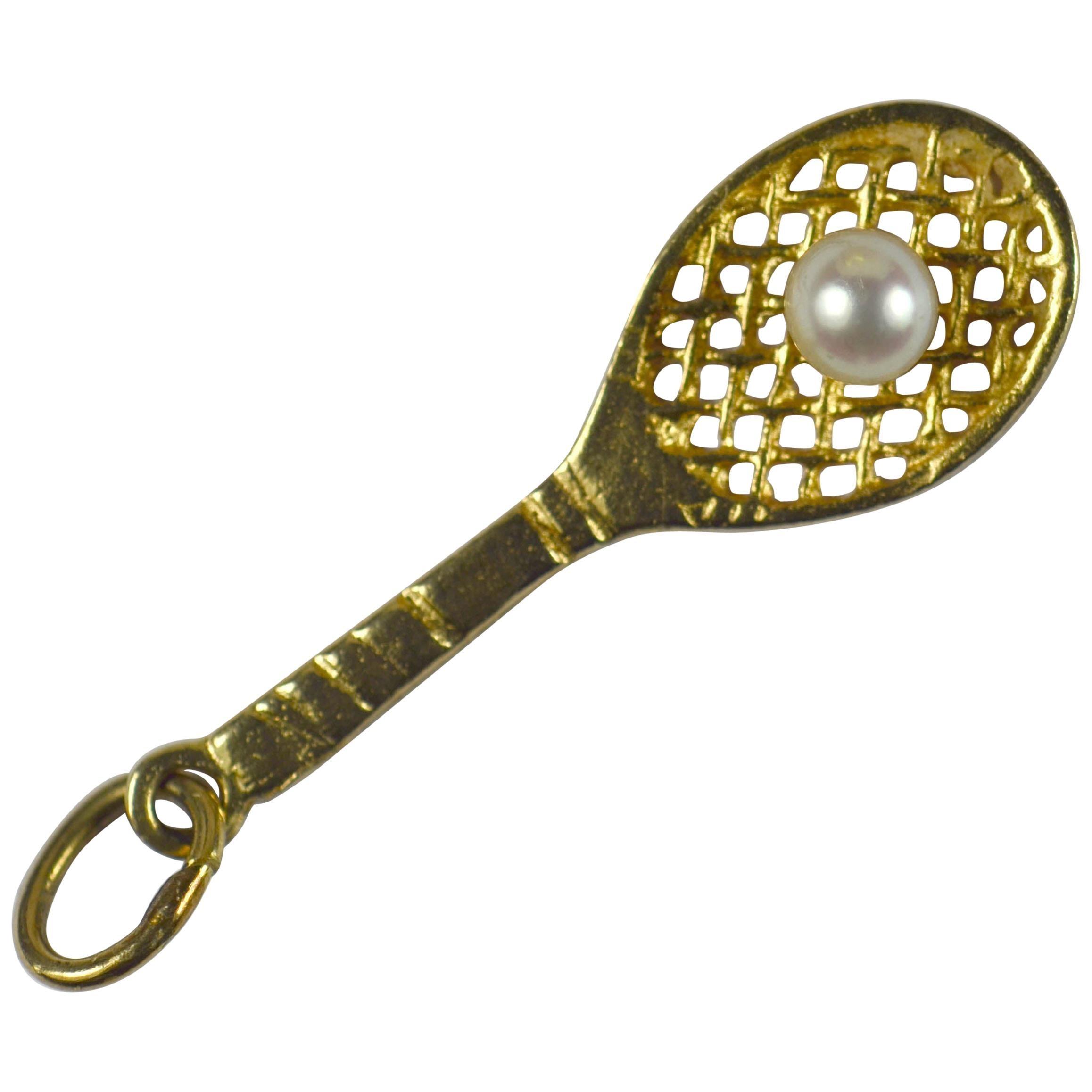 Yellow Gold White Pearl Tennis Racket Charm Pendant