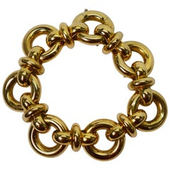 Yellow Gold Wide Round Link Chain Statement Bracelet