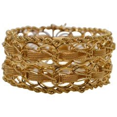 Wide Woven Double Chain Link 14 Karat Yellow Gold Bracelet