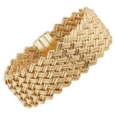 Yellow Gold Wide Woven Italian Link Bracelet