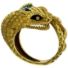 Yellow Gold with Enamel Wrap Around Snake Ring